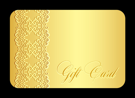 Luxury golden gift card with imitation of lace Illustration