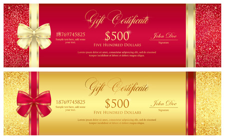 gift: Red and gold gift certificate with borders composed from glitters