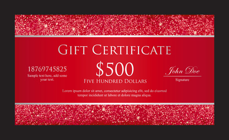 Luxury red gift certificate with borders composed from glitters Vector