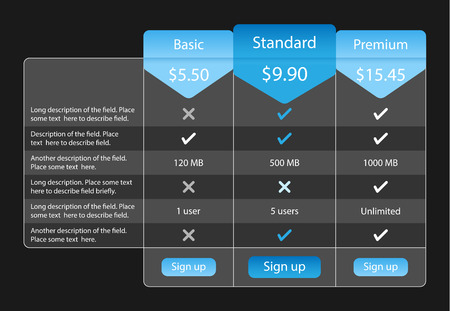pricing: Light pricing table with 3 options and one recommended. Blue bookmarks and buttons