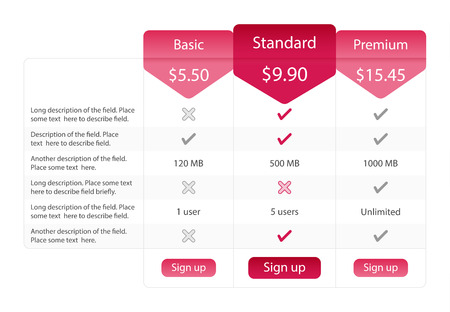 recommended: Light pricing table with 3 options and one recommended plan. Raspberry bookmarks and buttons.