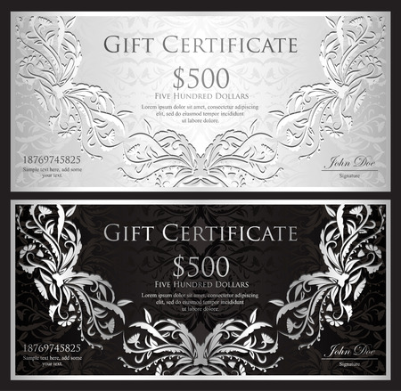 Luxury silver gift certificate in vintage style Illustration