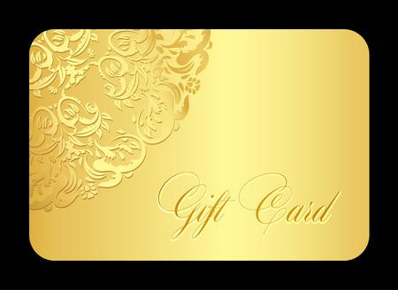 dar un regalo: Lujo tarjeta de regalo de oro con el cordón redondeado