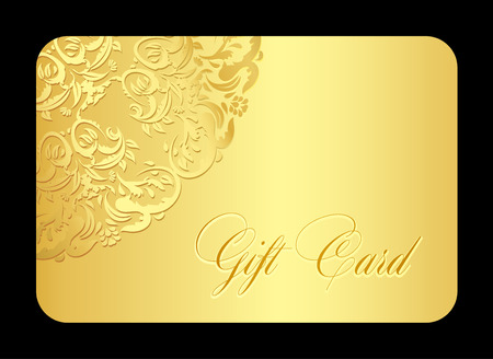 discount card: Luxury golden gift card with rounded lace