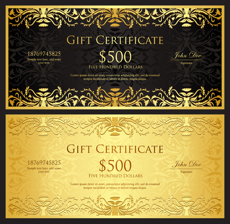 Luxury golden gift certificate in vintage style Çizim