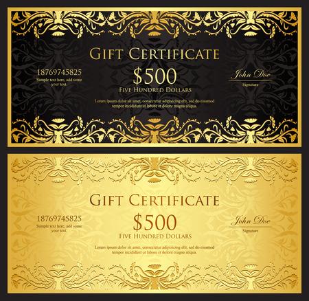 Luxury golden gift certificate in vintage style Illustration
