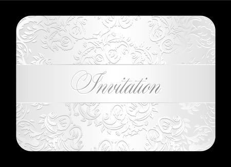 Luxury white wedding invitation with rounded lace