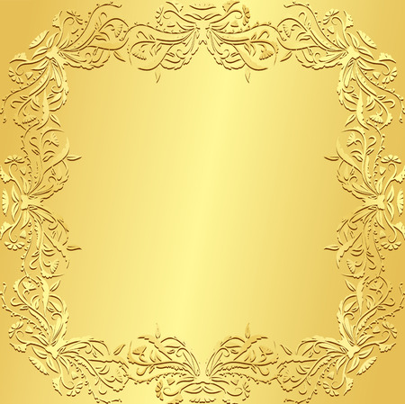 Luxury golden background with vintage floral pattern Vettoriali