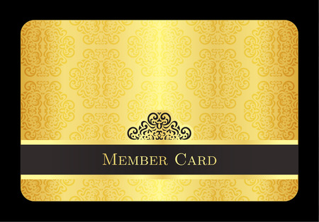 access card: Golden member card with classic vintage pattern