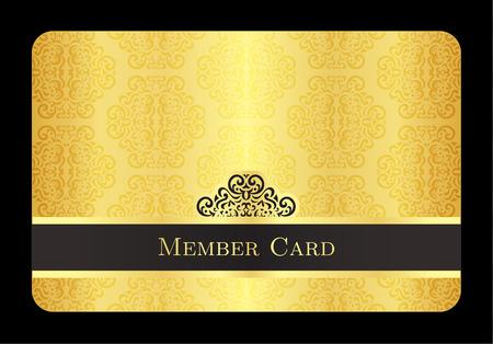 Gouden lid kaart met klassieke vintage patroon Stockfoto - 39022324