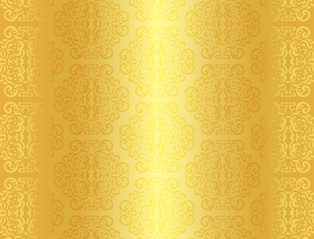 seamless damask: Luxury golden background with ornament pattern Illustration