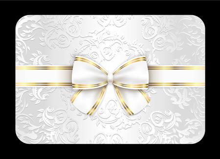 ruban blanc: Carte blanche avec l'ornement et ruban blanc