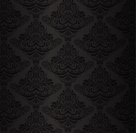 Black damask pattern with vintage floral ornament Vector