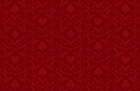 Luxury red poker background with card symbols Illustration