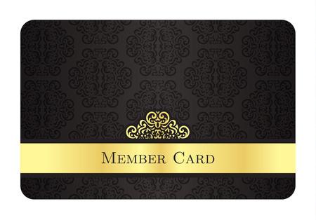 クラシックなビンテージ パターンを持つ高級黄金メンバー カード  イラスト・ベクター素材