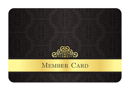 access card: Luxury golden member card with classic vintage pattern