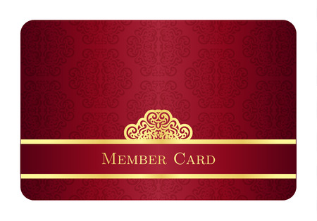 Red member card with classic vintage pattern and gold label