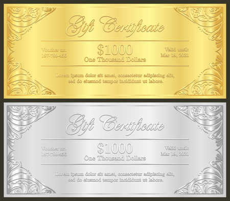Luxury golden and silver gift certificate in vintage style Stock fotó - 40028214