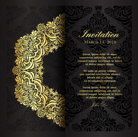 Classical black invitation template with floral vintage pattern