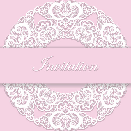 woman shower: Vintage pink wedding invitation cover with lace decoration