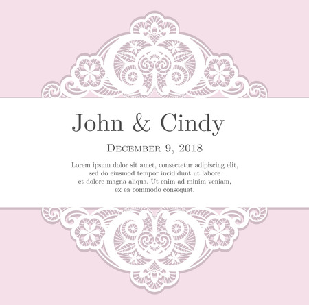 Vintage pink wedding invitation with lace decoration Vectores