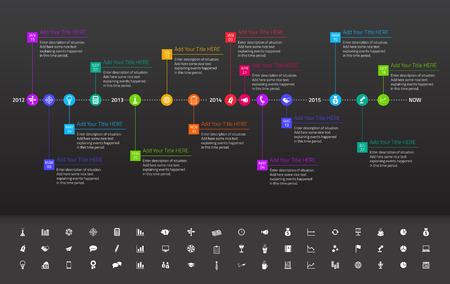 mapa de procesos: Cronología plana moderna con fecha exacta y los hitos con los iconos y colores del arco iris Vectores