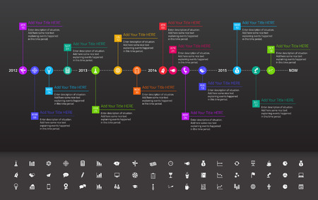 milestones: Modern flat timeline with exact date and milestones with icons and colors of rainbow