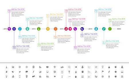 Modern flat timeline with exact date and milestones with icons and rainbow colors