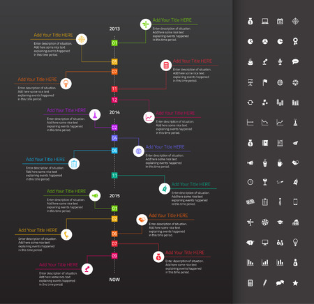 history month: Modern flat timeline with rainbow milestones and dark background