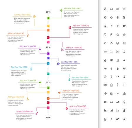 Modern flat timeline with rainbow milestones and dark background