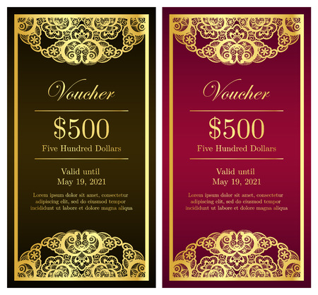 Vintage vertical voucher with golden lace