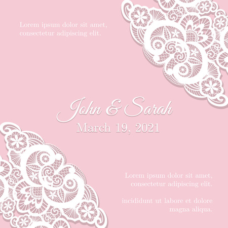 Vintage pink wedding invitation cover with lace decoration Vector
