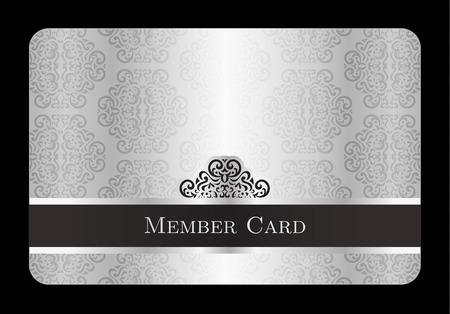 Argent Luxe carte de membre avec motif floral millésime Vecteurs