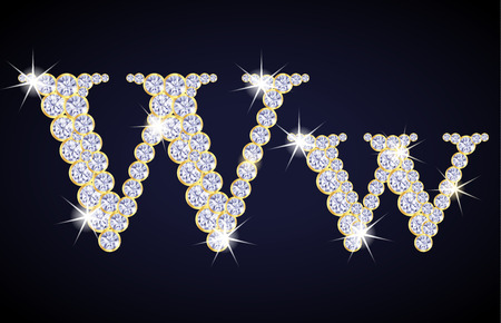 zircon: Letter W composed from diamonds with golden frame. Complete alphabet set. Illustration