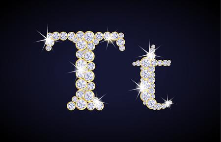 Letter T composed from diamonds with golden frame. Complete alphabet set. Illustration