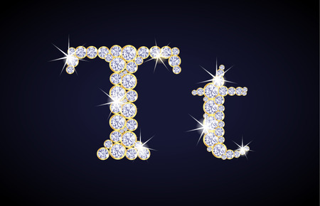 zircon: Letter T composed from diamonds with golden frame. Complete alphabet set. Illustration