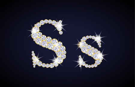 s alphabet: Letter S composed from diamonds with golden frame. Complete alphabet set.