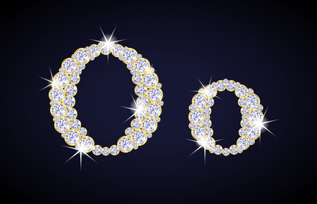 o letters: Letter O composed from diamonds with golden frame. Complete alphabet set.