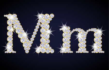 zircon: Letter M composed from diamonds with golden frame. Complete alphabet set.