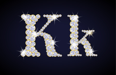 glint: Letter K composed from diamonds with golden frame. Complete alphabet set.