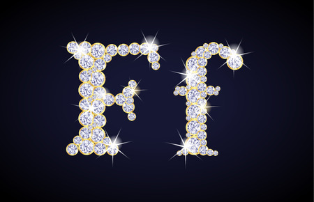 zircon: Letter F composed from diamonds with golden frame. Complete alphabet set.
