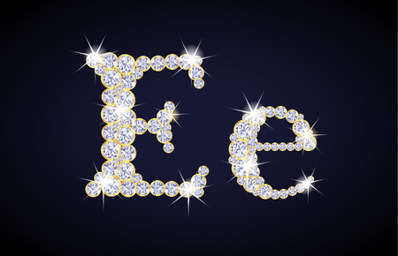 zircon: Letter E composed from diamonds with golden frame. Complete alphabet set. Illustration
