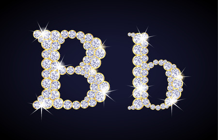 zircon: Letter B composed from diamonds with golden frame. Complete alphabet set. Illustration