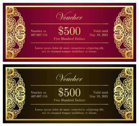 old fashion: Vintage red and black voucher with golden lace decoration Illustration