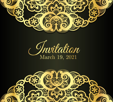 Vintage black invitation cover with golden lace decoration 版權商用圖片 - 41103353