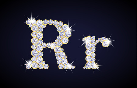 R: Letter R composed from diamonds with golden frame. Complete alphabet set.