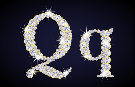zircon: Letter Q composed from diamonds with golden frame. Complete alphabet set. Illustration