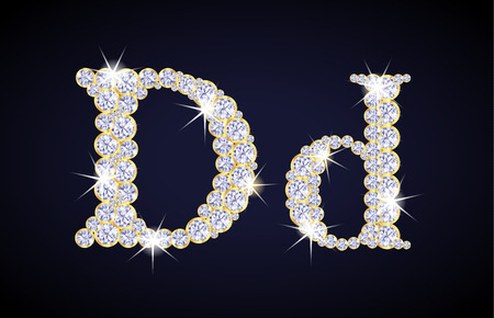 diamond letters: Letter D composed from diamonds with golden frame. Complete alphabet set.