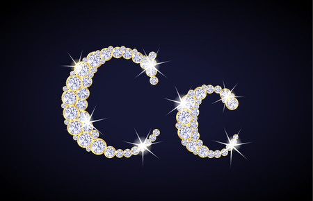 zircon: Letter C composed from diamonds with golden frame. Complete alphabet set.