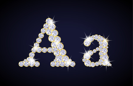 zircon: Letter A composed from diamonds with golden frame. Complete alphabet set.